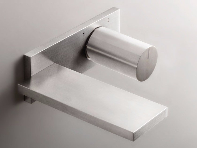 Contemporary style wall-mounted stainless steel washbasin mixer with brushed finishing with plate MILANO - D113A/E610B - Fantini Rubinetti