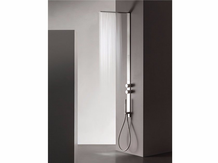 Wall-mounted stainless steel shower panel MILANOSLIM | Shower panel - Fantini Rubinetti