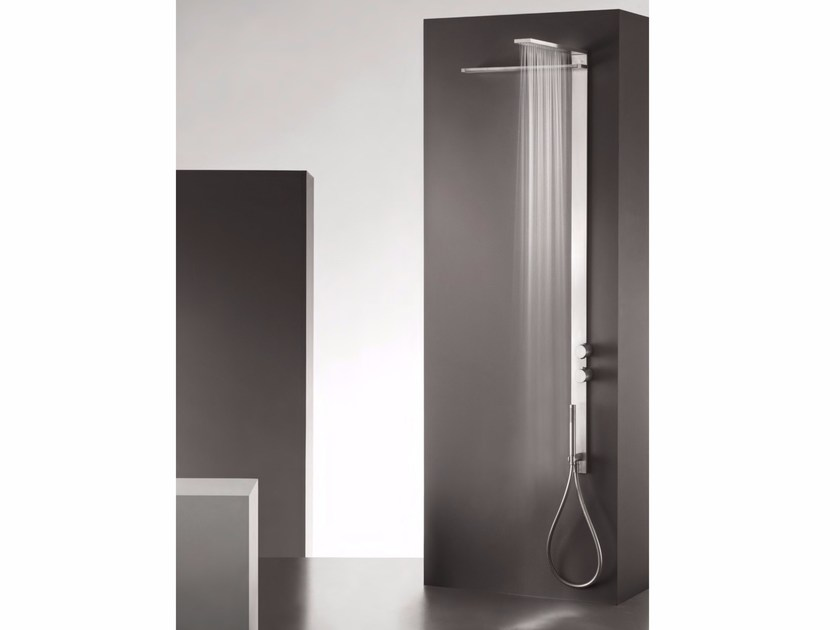 Wall-mounted thermostatic stainless steel shower panel with overhead shower MILANOSLIM WATERFALL - Fantini Rubinetti