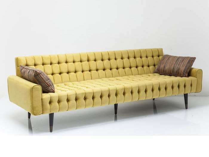 Tufted 3 seater polyester sofa MILCHBAR - KARE-DESIGN