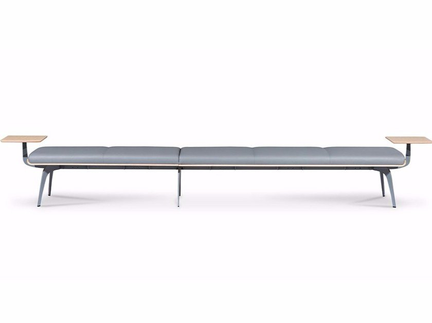 Upholstered modular leather bench MILLEPIEDI | Leather bench - True Design