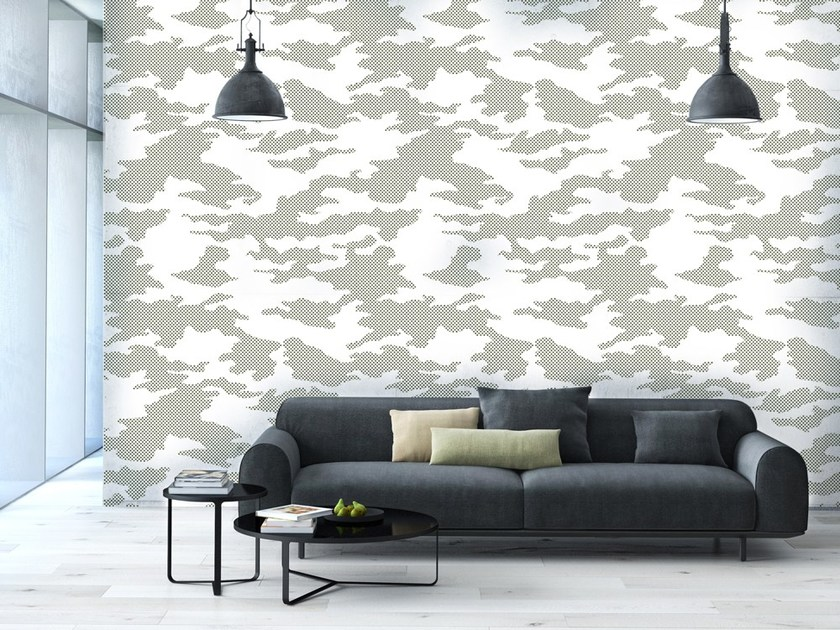 Geometric nonwoven wallpaper MIMESI GRIGIO by MyCollection.it