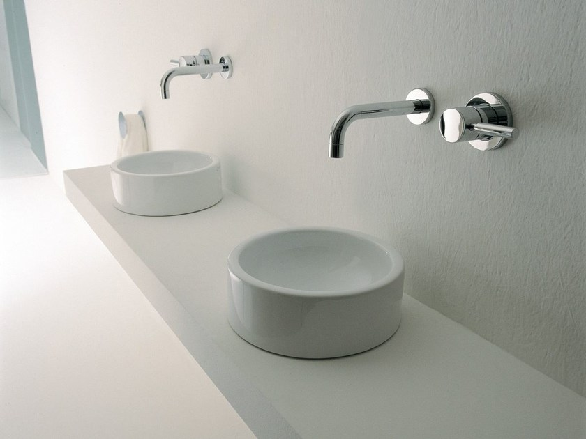 Countertop ceramic handrinse basin round MINI TWIN | Countertop handrinse basin - CERAMICA FLAMINIA