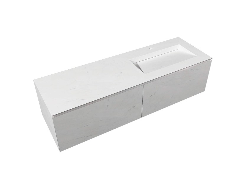 Rectangular natural stone washbasin with integrated countertop MINIM   Washbasin with integrated countertop by L'antic Colonial