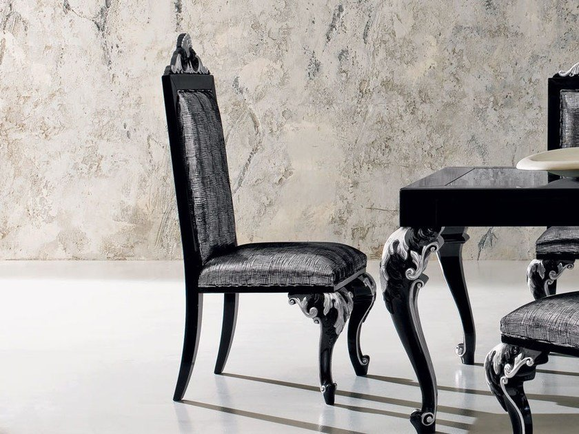 Upholstered embroidered laquered luxury chair - Minimal Baroque Collection - Modenese Gastone