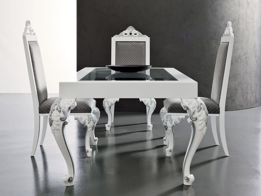 Glass laquered Italian dining table home furnishings - Minimal Baroque Collection - Modenese Gastone