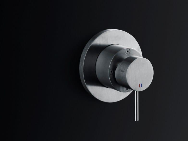 Wall-mounted brushed steel washbasin mixer MINIMAL | Washbasin mixer - Boffi