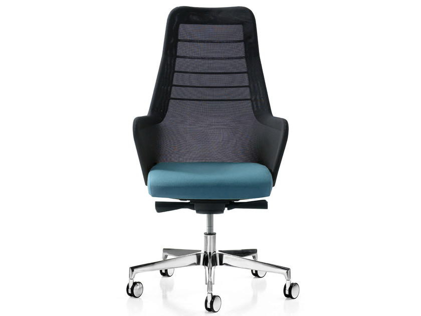 Height-adjustable fabric executive chair with 5-spoke base MISS MESH | Executive chair by Quinti Sedute