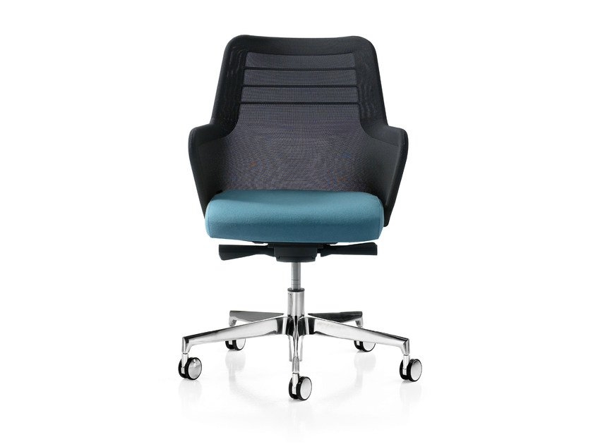 Height-adjustable fabric task chair with 5-Spoke base with armrests MISS MESH | Task chair with 5-Spoke base - Quinti Sedute