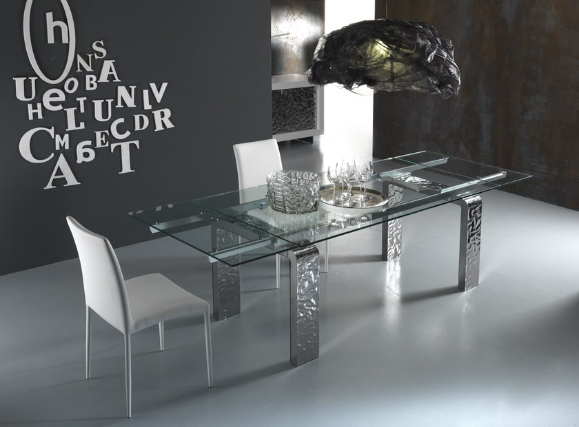 Contemporary style extending crystal kitchen table MITO S | Extending table - RIFLESSI