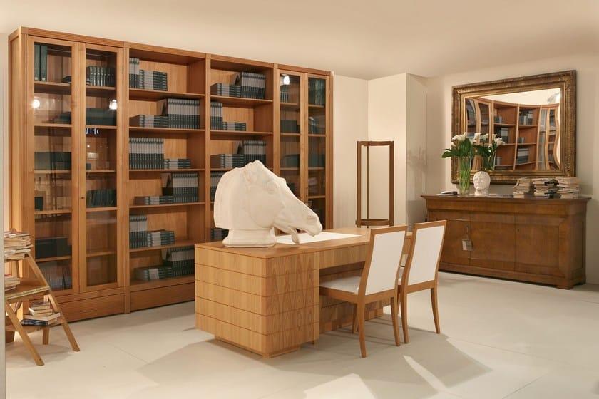 Libreria autoportante in legno e vetro biblioteca for Morelato librerie