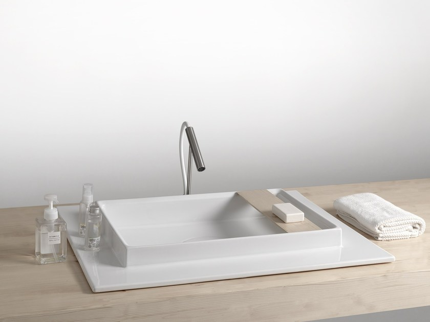 Contemporary style rectangular semi-inset washbasin MODERN SANITARY WARE | Rectangular washbasin - BLEU PROVENCE