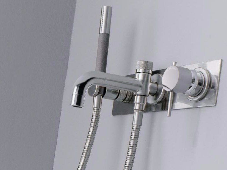 Wall-mounted bathtub mixer with hand shower MODO | Bathtub mixer with hand shower - ZAZZERI