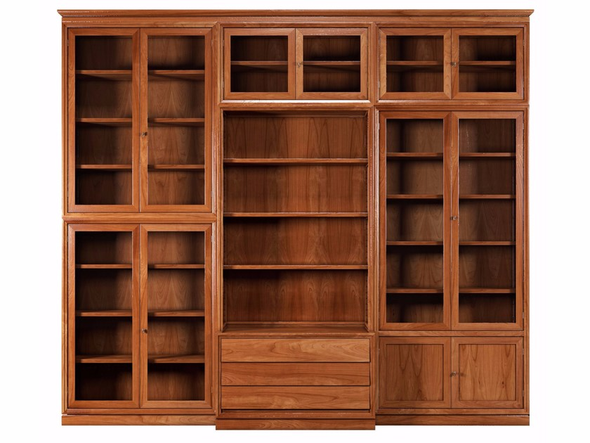 Modular solid wood bookcase MODULO '900 | Solid wood bookcase - Morelato