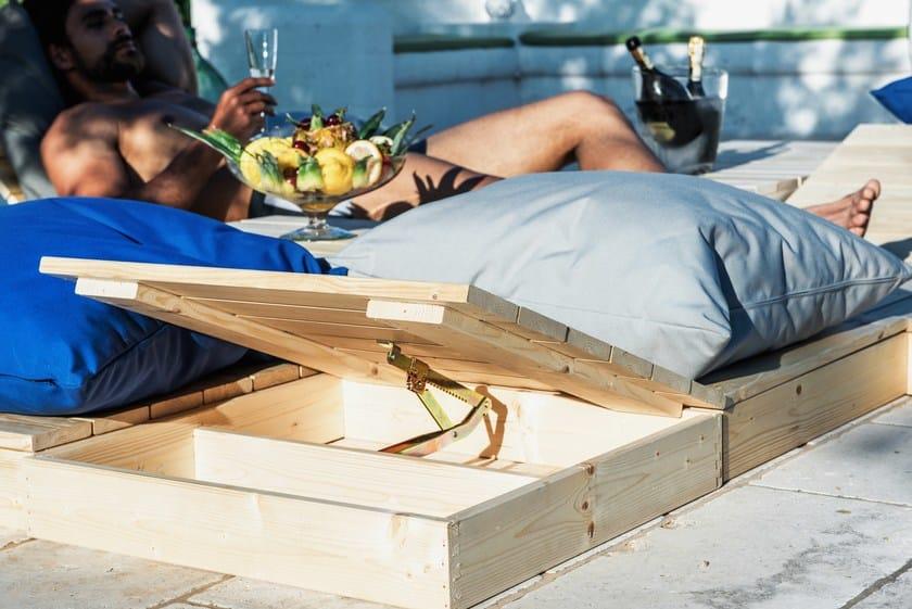 Modular wooden and fabric garden bench MODULO QUADRO by Arketicom Design