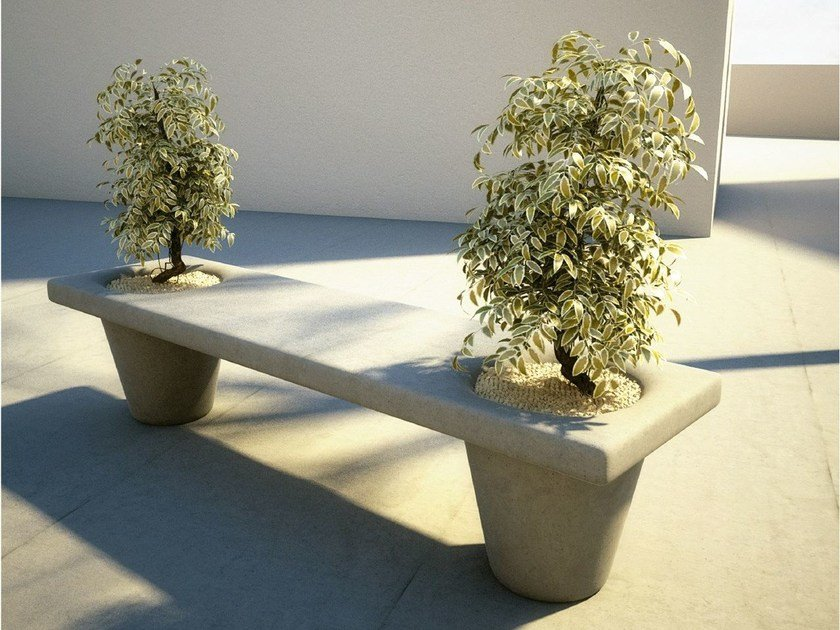 Concrete Bench with Integrated Planter MOLD | Bench with Integrated Planter - SIT
