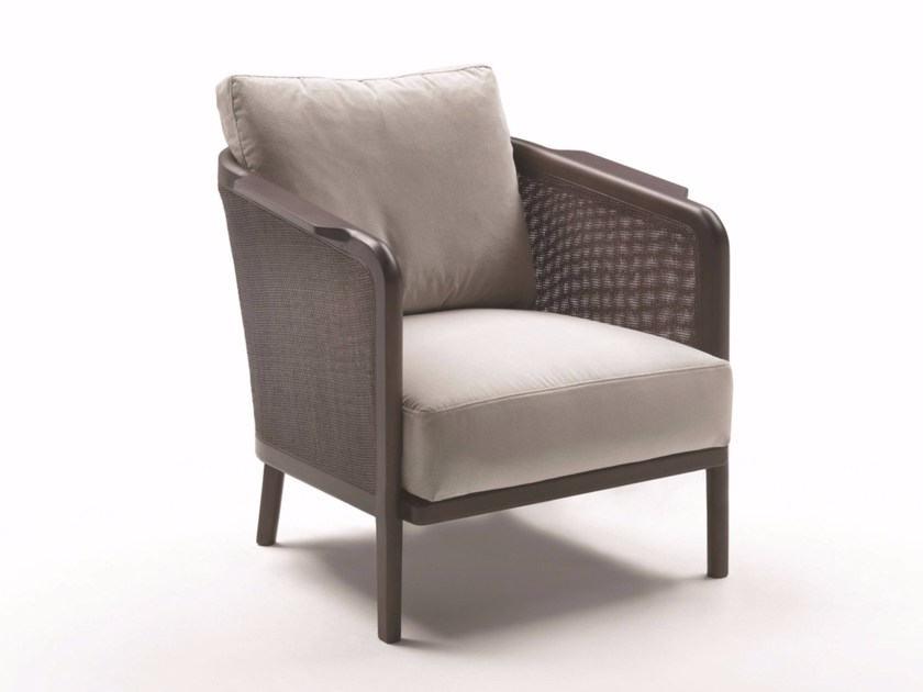 Upholstered fabric armchair with removable cover with armrests MONDO - FLEXFORM