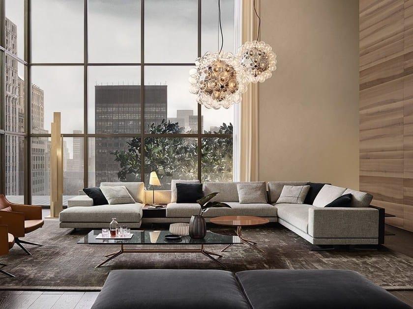 Corner upholstered fabric sofa with chaise longue MONDRIAN   Corner sofa by poliform