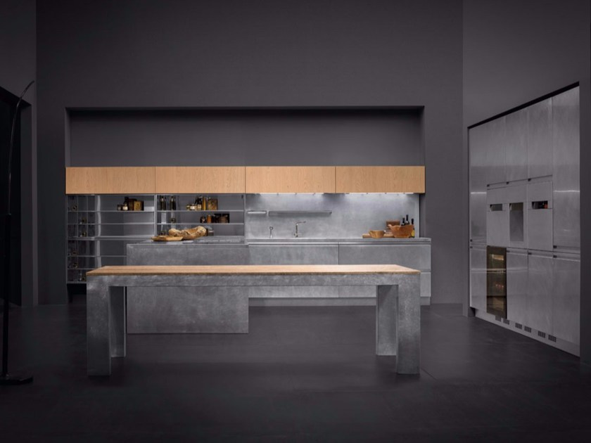Stainless steel kitchen with island MONOLIT 90° INOX HAND-BRUSHED - Xera by Arex
