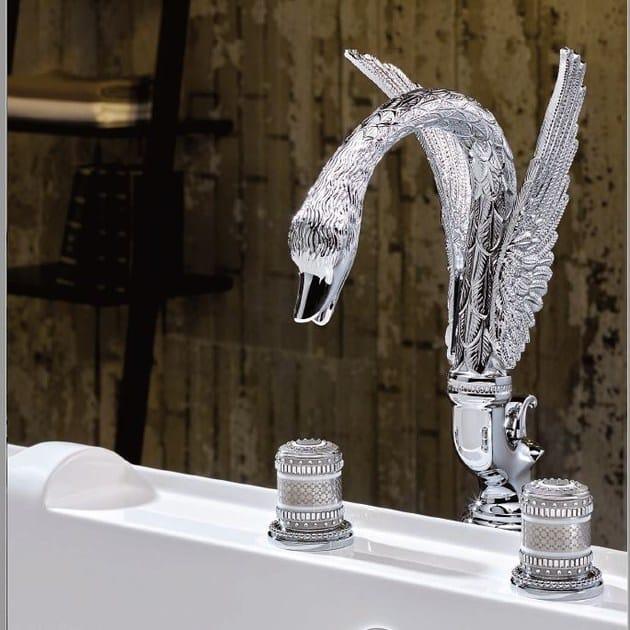 Miscelatore per vasca a 4 fori in metallo in stile classico con doccetta con finitura lucida MONTE CARLO PORCELAINE OR BLANC | Miscelatore per vasca - INTERCONTACT