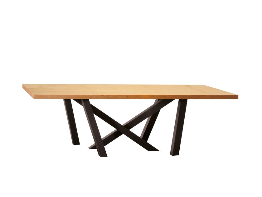 Rectangular steel and wood table MOOD by Colico