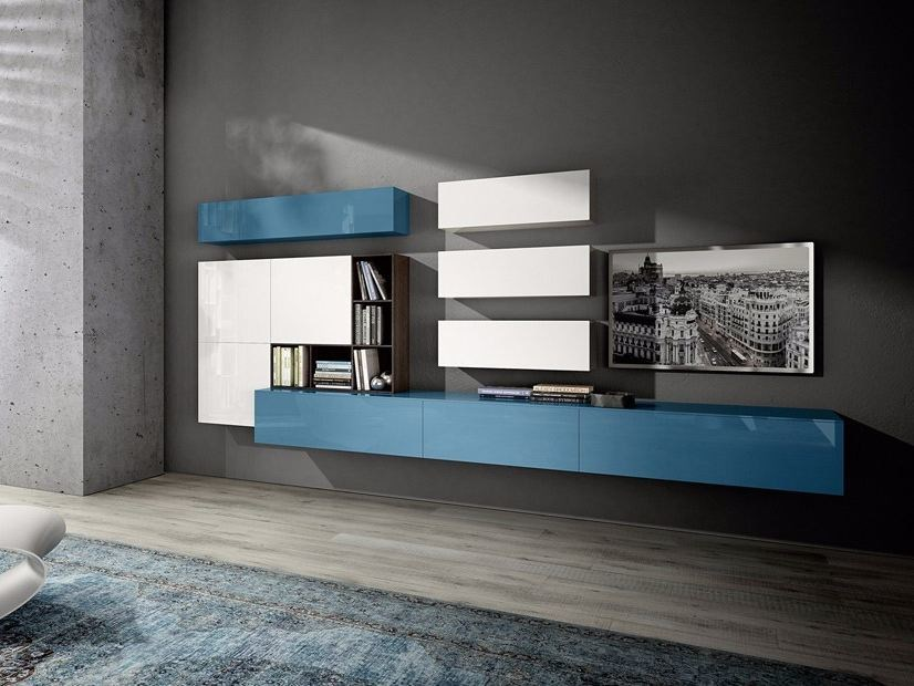 Sectional wall-mounted storage wall MOOD   Storage wall by Composit