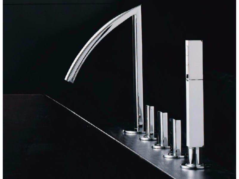 5 hole bathtub set with hand shower MOON | 5 hole bathtub set - ZAZZERI