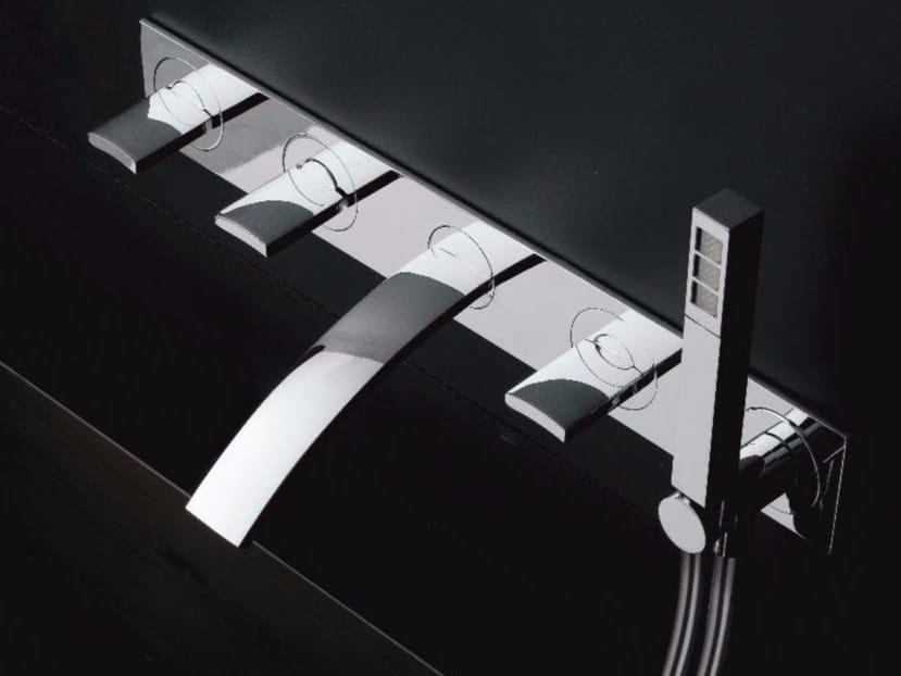 Wall-mounted bathtub set with hand shower with plate MOON | Bathtub set - ZAZZERI