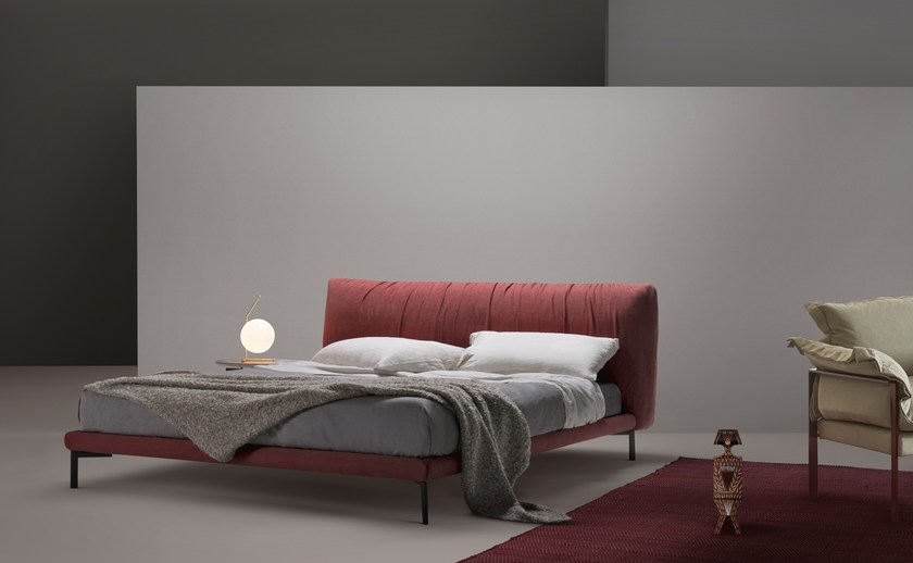 Contemporary style upholstered leather double bed with high headboard MOON | Bed by MY home collection