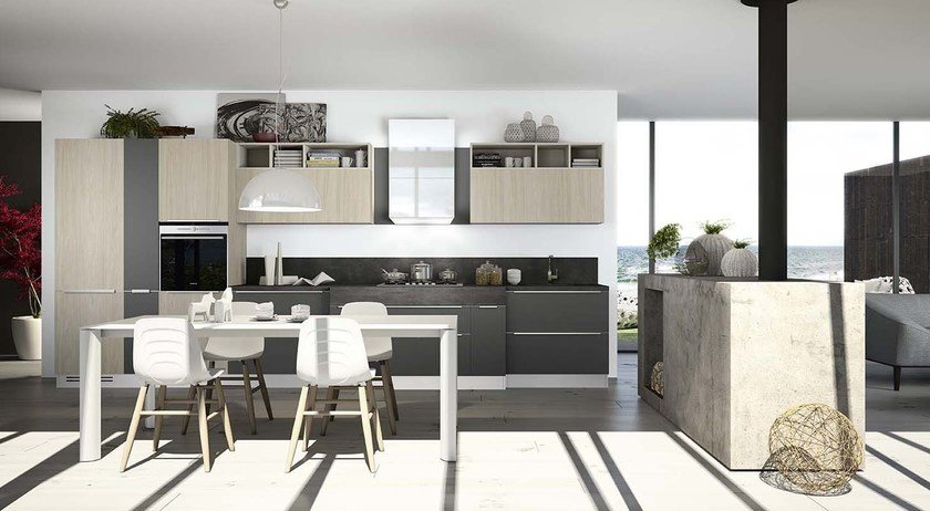 American style steel fitted kitchen with island with handles MOON DUNA DIVA - ARREDO 3