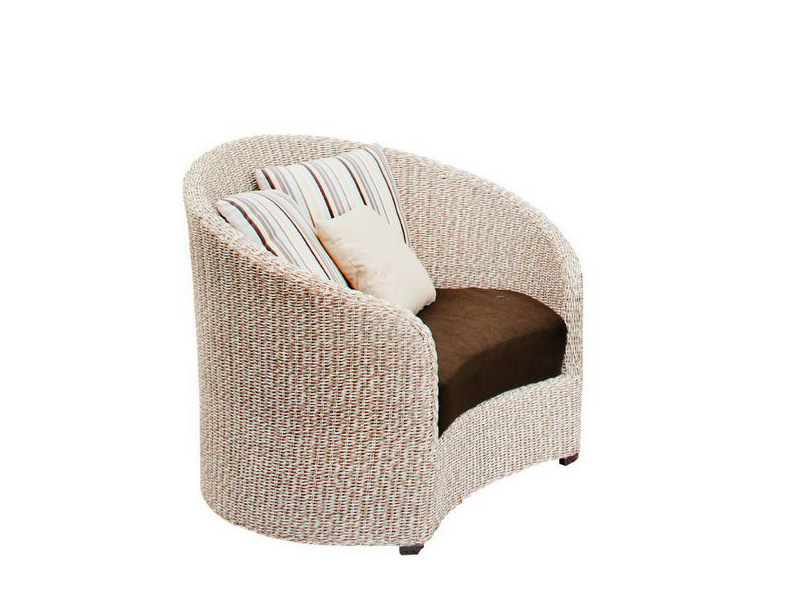 Upholstered garden armchair with armrests MOON | Garden armchair with armrests - Atmosphera