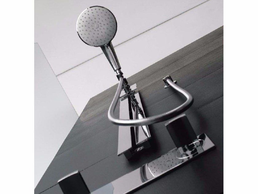 Chrome-plated shower wallbar with overhead shower MOON | Shower wallbar - ZAZZERI