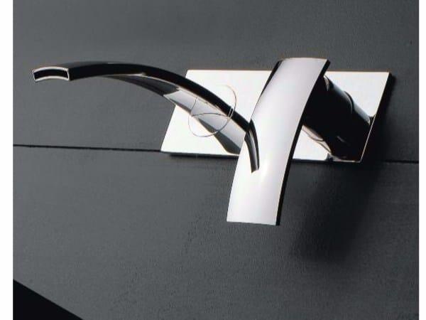 Wall-mounted single handle washbasin mixer with plate MOON | Wall-mounted washbasin mixer - ZAZZERI