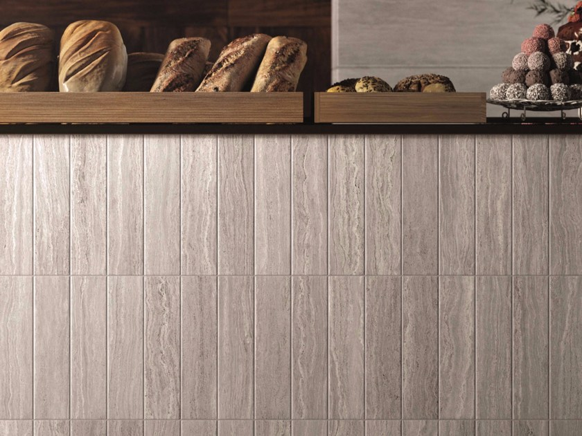 Porcelain stoneware wall/floor tiles with travertine effect MOTIF TRAVERTINO SILVER by Marca Corona