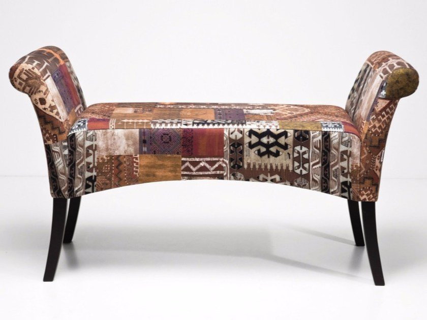 Upholstered fabric bench MOTLEY COFFEE | Bench - KARE-DESIGN