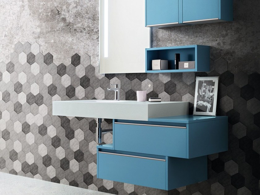 Single wall-mounted vanity unit with drawers MOVIDA 52 by Cerasa