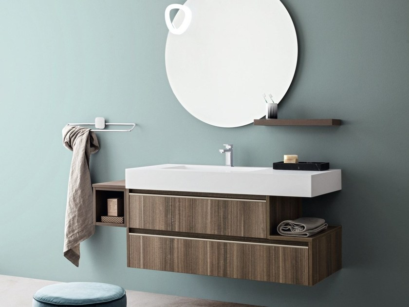Wall-mounted laminate vanity unit with drawers MOVIDA 6 by Cerasa