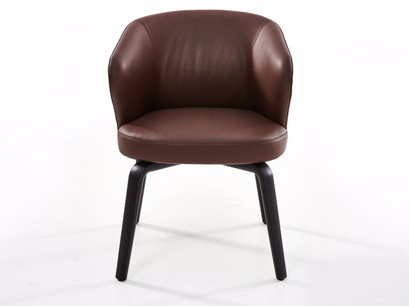 Upholstered leather easy chair with armrests MUDI - more
