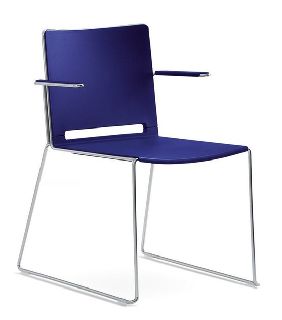 Sled base stackable chair with armrests MULTI | Chair with armrests - IBEBI