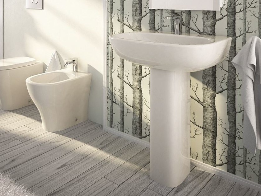 Single ceramic washbasin MY | Pedestal washbasin by Hidra Ceramica