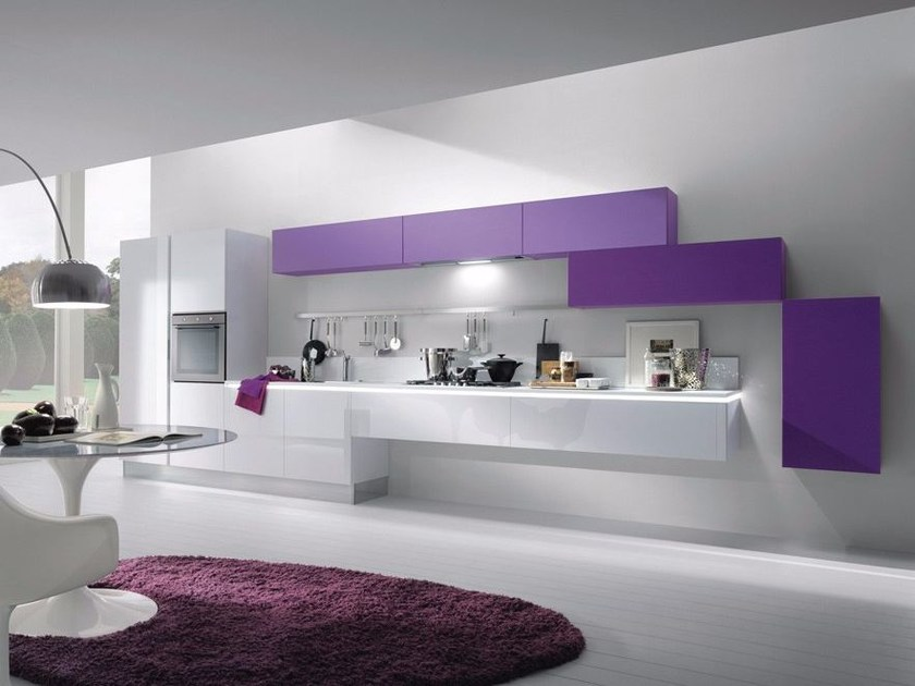 Contemporary style wall-mounted acrylic fitted kitchen without handles MYA by Composit