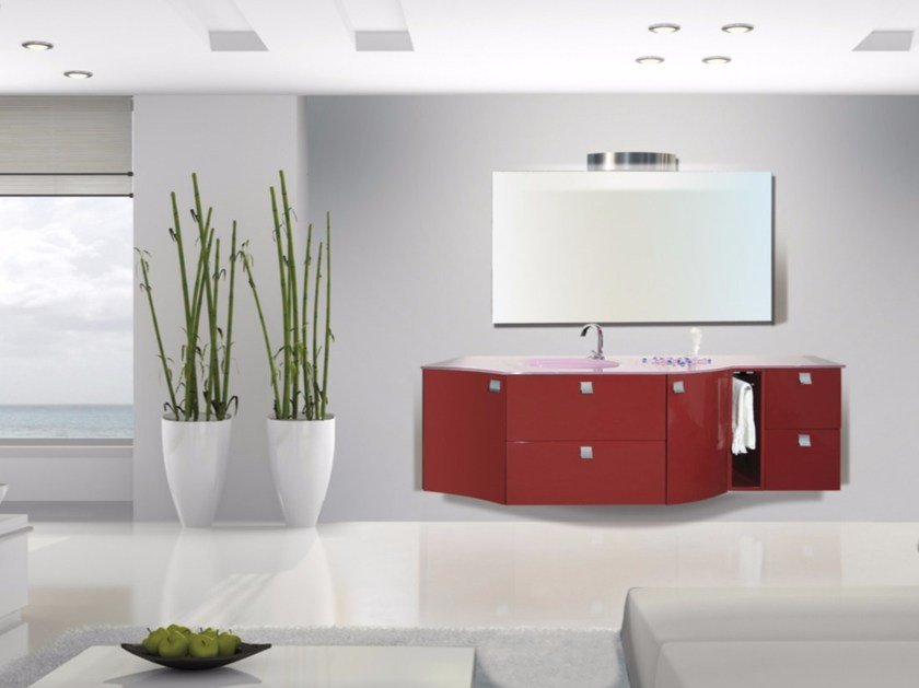 Lacquered wall-mounted vanity unit with mirror MYKONOS CM03MY - LA BUSSOLA