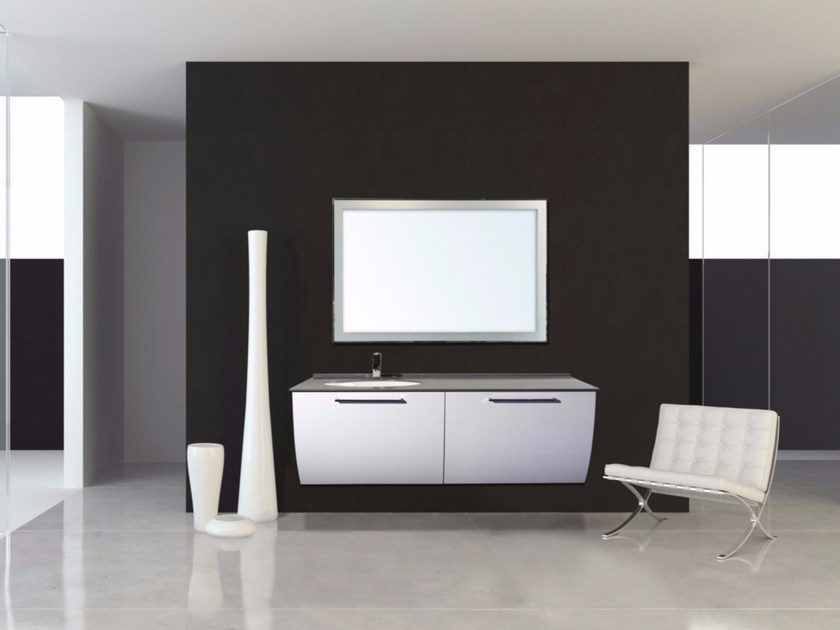 Lacquered wall-mounted vanity unit with drawers MYKONOS CM05MY - LA BUSSOLA