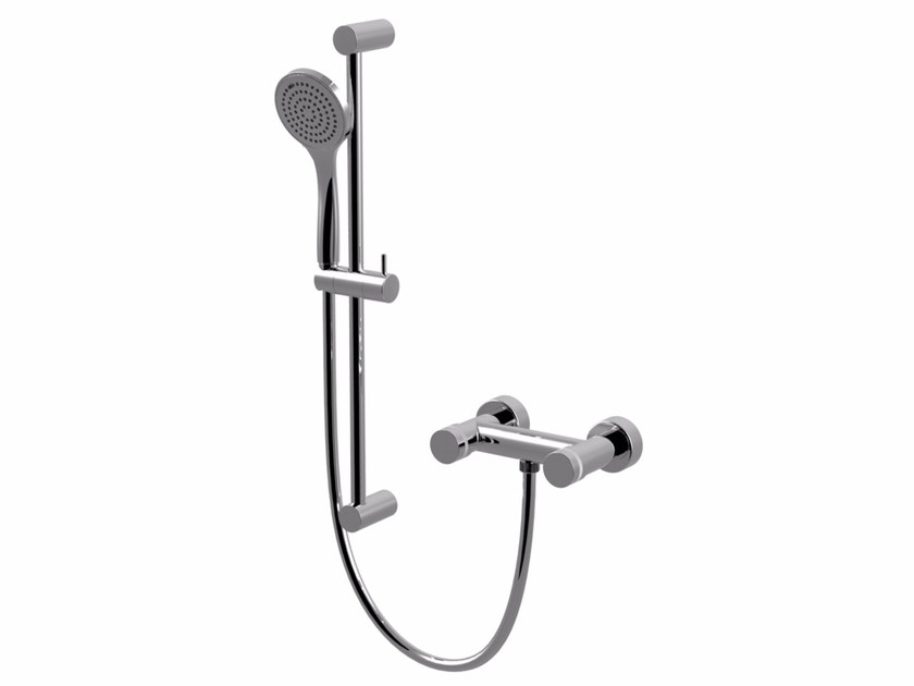Shower tap with hand shower with polished finishing MYRING | Shower wallbar with hand shower - Giulini G. Rubinetteria