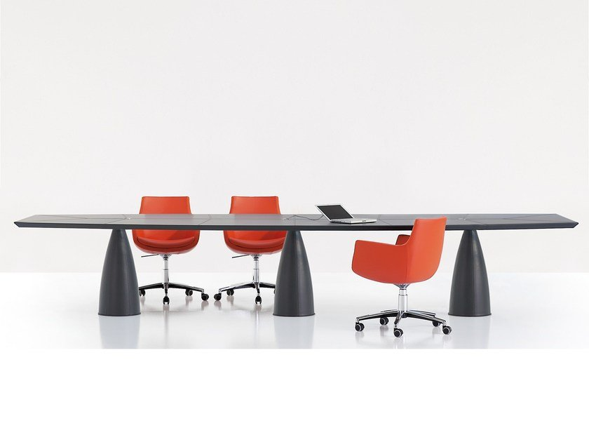 Tanned leather meeting table MYTHOS   Meeting table by Polflex