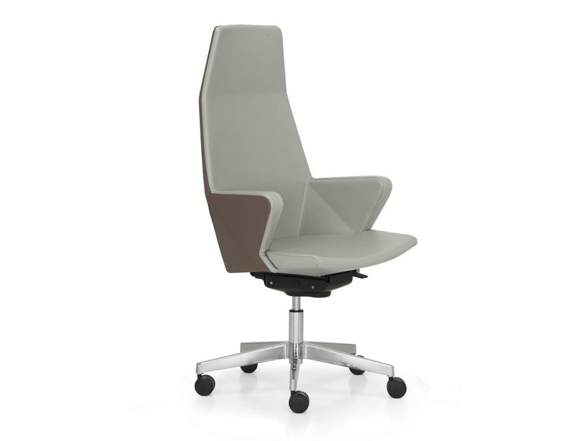 Height-adjustable leather executive chair with 5-spoke base with armrests HYWAY | Executive chair - Quinti Sedute