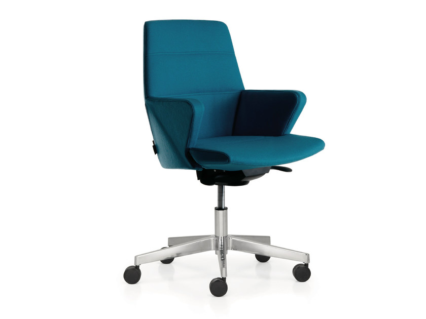 Leather task chair with 5-Spoke base with armrests with casters HYWAY | Task chair - Quinti Sedute