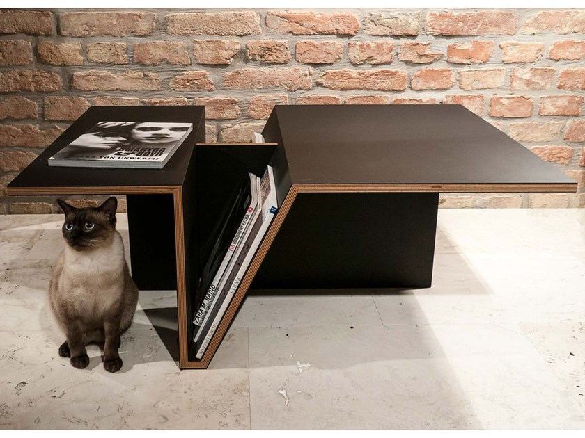 Contemporary style low wood-product coffee table with integrated magazine rack Mag Impulse by Zone Architekten