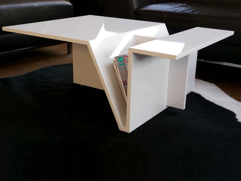 Contemporary style low acrylic coffee table with integrated magazine rack Mag Impulse by Zone Architekten