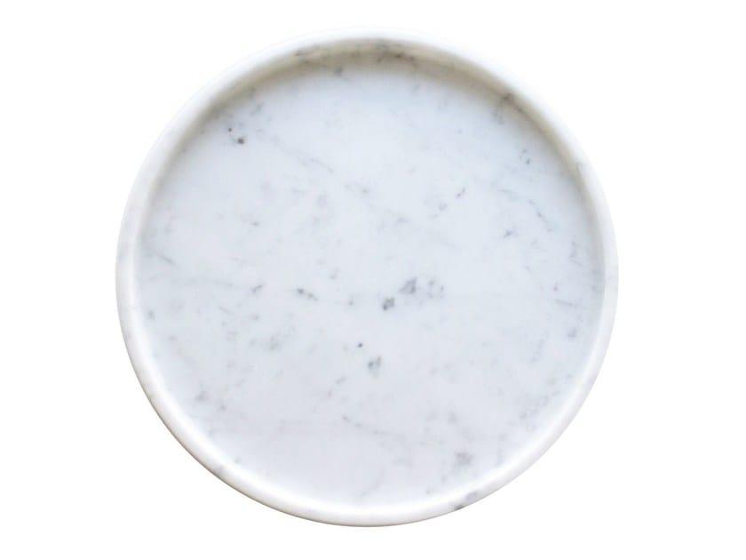 Round Carrara marble tray Marble round tray - Evie Group